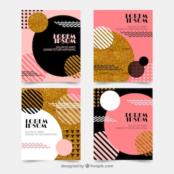 Coleção de cartões de brilho com cor dourada