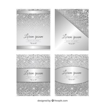 Coleção de cartões de brilho com cor prata