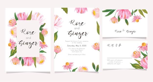 Coleção de cartões de casamento em aquarela de flor rosa