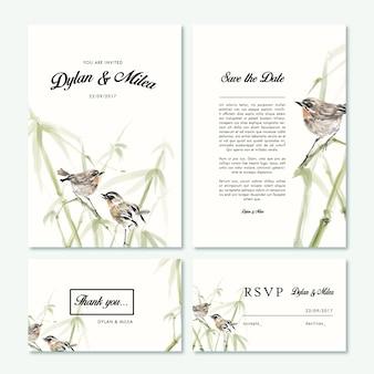 Coleção de cartões de casamento