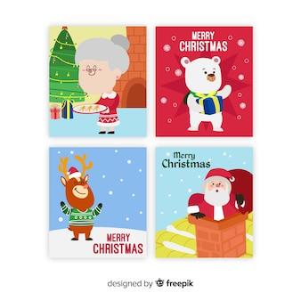Coleção de cartões de cenas de natal