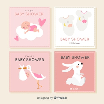 Coleção de cartões de chuveiro de bebê plana