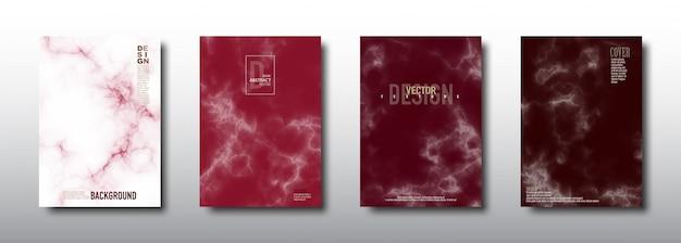 Coleção de cartões de cobertura vermelha de textura sem costura padrão de mármore