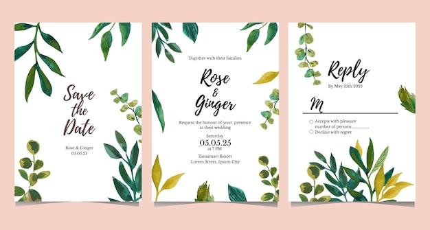 Coleção de cartões de convite de casamento em aquarela