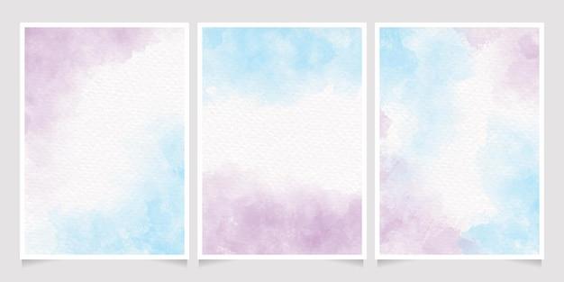 Coleção de cartões de convite de respingo de aguarela de unicórnio azul e violeta