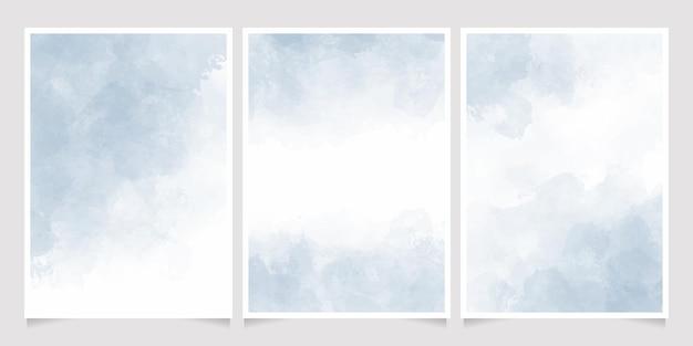 Coleção de cartões de convite de respingo de aquarela azul claro aquarela