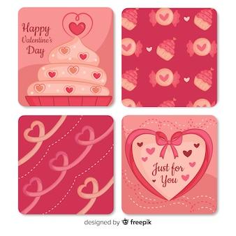 Coleção de cartões de cupcake dos namorados