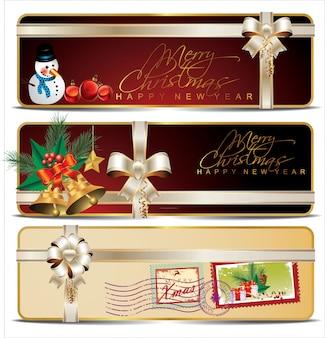 Coleção de cartões de desconto ou de presente com fitas