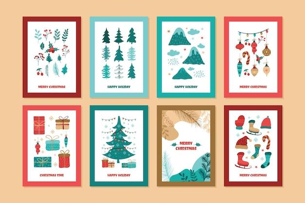 Coleção de cartões de desenho animado de feliz natal, com ilustrações desenhadas à mão adorável