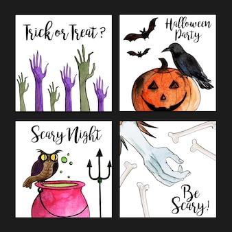 Coleção de cartões de dia das bruxas em aquarela