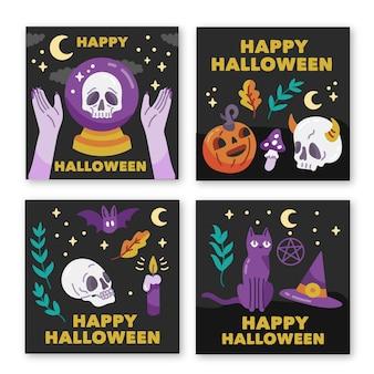 Coleção de cartões de dia das bruxas