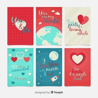 Coleção de cartões de dia dos namorados do universo