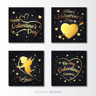 Coleção de cartões de dia dos namorados dourado