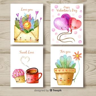 Coleção de cartões de dia dos namorados em aquarela