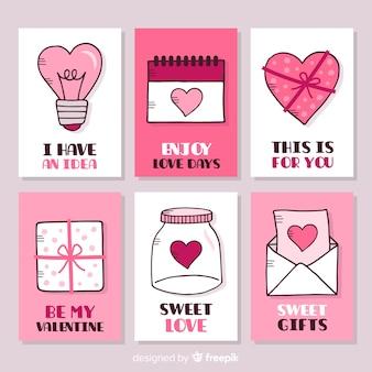Coleção de cartões de dia dos namorados