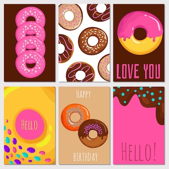 Coleção de cartões de donuts doce dos desenhos animados