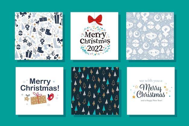 Coleção de cartões de felicitações de feliz natal. ilustração em vetor plana. para etiquetas, banners, estampas, embalagens, convites.