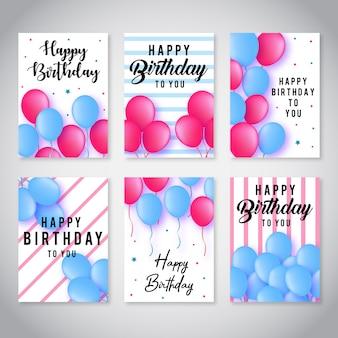 Coleção de cartões de feliz aniversário de vetor