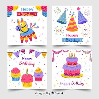 Coleção de cartões de feliz aniversário