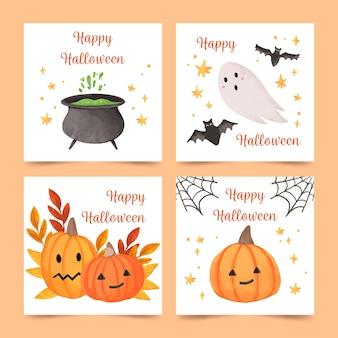 Coleção de cartões de feliz dia das bruxas