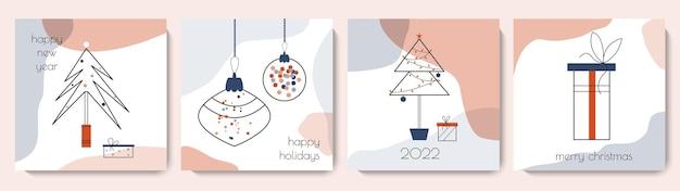 Coleção de cartões de feliz natal e feliz ano novo conjunto de modelos quadrados bonitos de inverno.