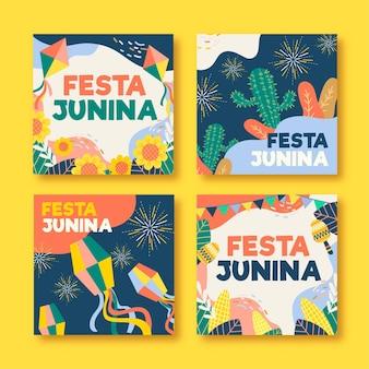 Coleção de cartões de festa junina desenhada à mão