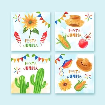 Coleção de cartões de festa junina pintados à mão em aquarela Vetor grátis
