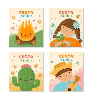 Coleção de cartões de festa junina pintados à mão em aquarela