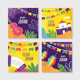 Coleção de cartões de festa junina plana