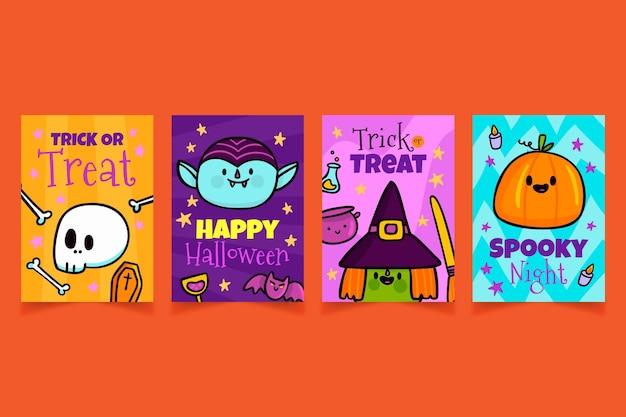Coleção de cartões de halloween com design plano