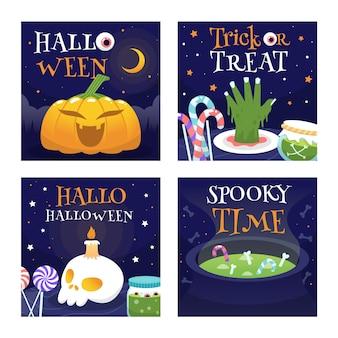 Coleção de cartões de halloween desenhado à mão