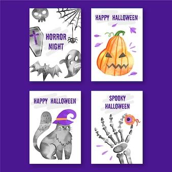 Coleção de cartões de halloween em aquarela