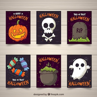 Coleção de cartões de halloween