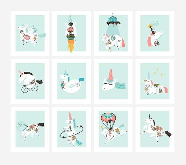 Coleção de cartões de ilustrações desenhadas à mão com unicórnios bonitos e mágicos.