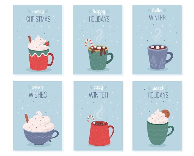 Coleção de cartões de natal bebidas quentes café chocolate quente