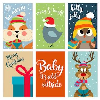 Coleção de cartões de natal com animais e desejos