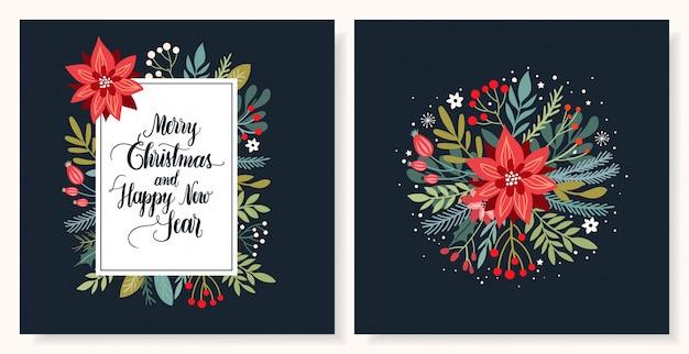 Coleção de cartões de natal com letras sazonais e mão