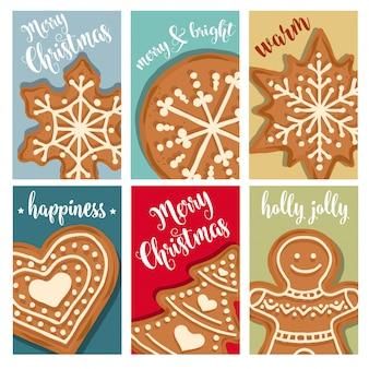Coleção de cartões de natal com pão de gengibre