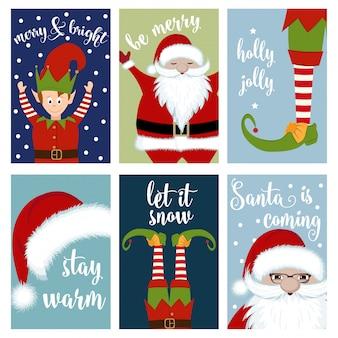 Coleção de cartões de natal com papai noel e duendes