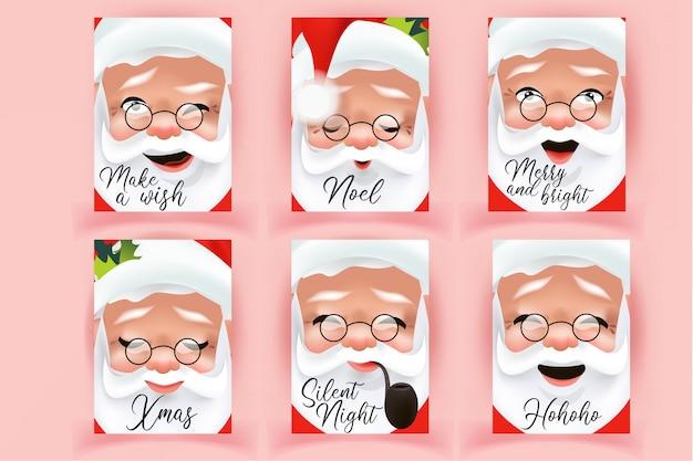 Coleção de cartões de natal com rostos de papai noel