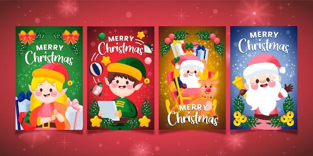 Coleção de cartões de natal desenhados à mão