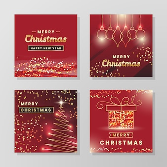 Coleção de cartões de natal dourados
