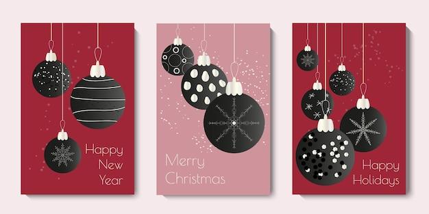 Coleção de cartões de natal e enfeites de ano novo minimali design moderno de natal vector