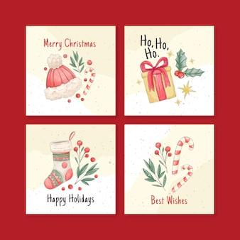 Coleção de cartões de natal em aquarela