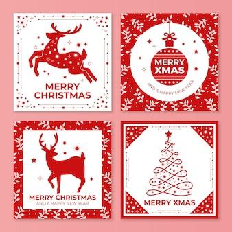 Coleção de cartões de natal ornamentais