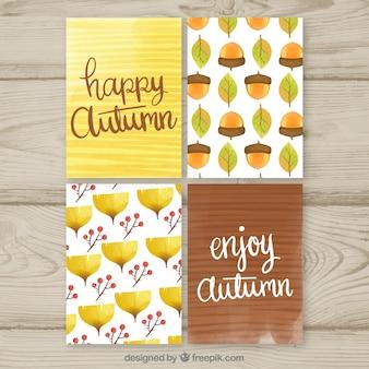 Coleção de cartões de outono com a natureza