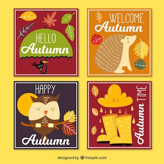 Coleção de cartões de outono com elementos