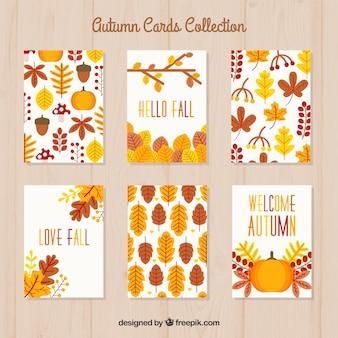 Coleção de cartões de outono com estilo colorido