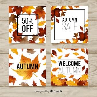 Coleção de cartões de outono em aquarela
