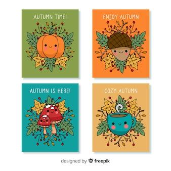 Coleção de cartões de outono mão desenhada